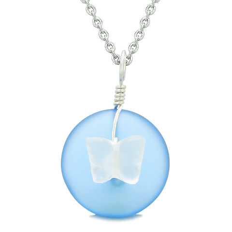 Lucky Butterfly Sea Glass Donut Positive Energy Amulet Cloud Blue and White Pendant 18 Inch Necklace
