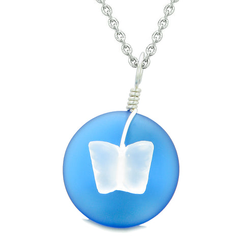 Lucky Butterfly Sea Glass Donut Positive Energy Amulet Ocean Blue and White Pendant 22 Inch Necklace