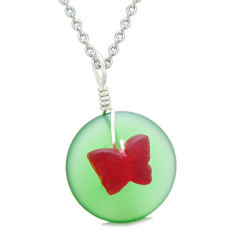 Lucky Butterfly Sea Glass Donut Positive Energy Amulet Forest Green and Red Pendant 22 Inch Necklace