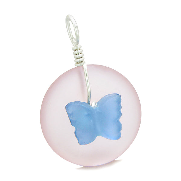 Lucky Butterfly Sea Glass Donut Positive Energy Amulet Cloud Blue and Pink Pendant 22 Inch Necklace