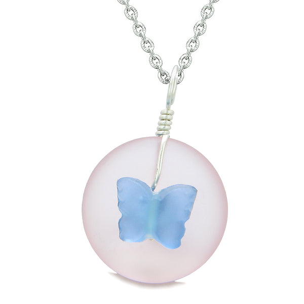 Lucky Butterfly Sea Glass Donut Positive Energy Amulet Cloud Blue and Pink Pendant 18 Inch Necklace