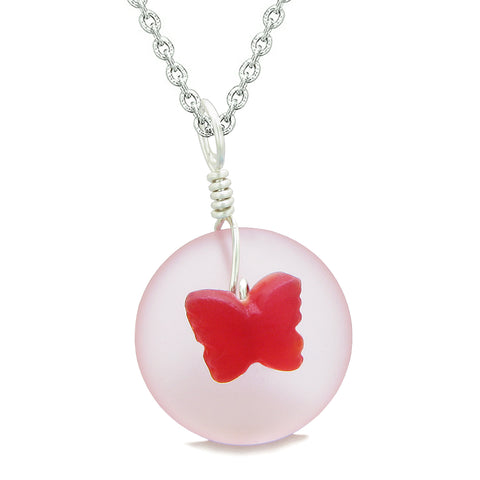 Lucky Butterfly Sea Glass Donut Positive Energy Amulet Royal Red and Pink Pendant 18 Inch Necklace