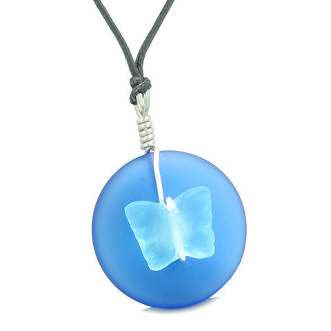Lucky Butterfly Sea Glass Donut Positive Energy Amulet Ocean Sky Blue Pendant Adjustable Necklace