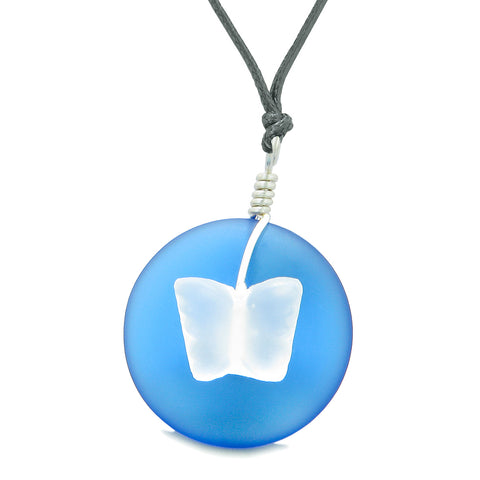 Lucky Butterfly Sea Glass Donut Positive Energy Amulet Ocean Blue White Pendant Adjustable Necklace