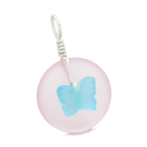 Lucky Butterfly Sea Glass Donut Positive Energy Amulet Sky Blue and Pink Pendant 22 Inch Necklace
