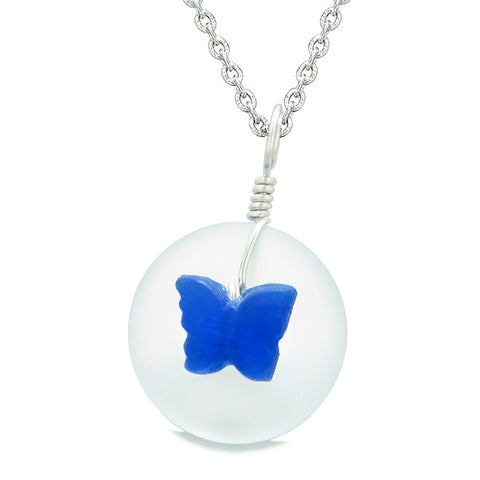 Lucky Butterfly Sea Glass Donut Positive Energy Amulet White and Ocean Blue Pendant 22 Inch Necklace
