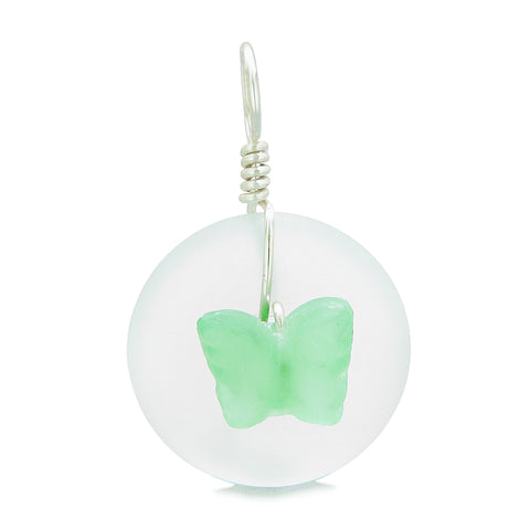 Lucky Butterfly Sea Glass Donut Positive Energy Amulet White and Neon Green Pendant 22 Inch Necklace