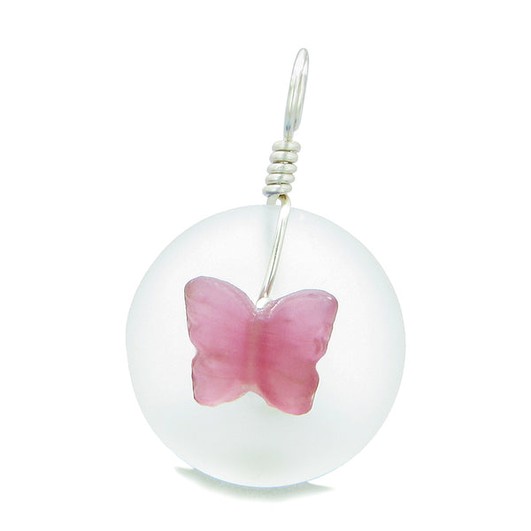 Lucky Butterfly Sea Glass Donut Positive Energy Amulet White Fuschia Pink Pendant 18 Inch Necklace