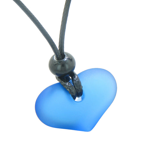 Unique Puffy Heart Frosted Sea Glass Cloud Blue Positive and Life Powers Amulet Adjustable Necklace