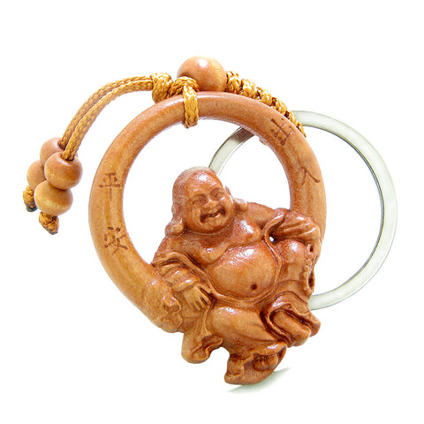 Amulet Happy Laughing Buddha Swinging in Wheel of Fortune Feng Shui Symbols Keychain Set Blessings