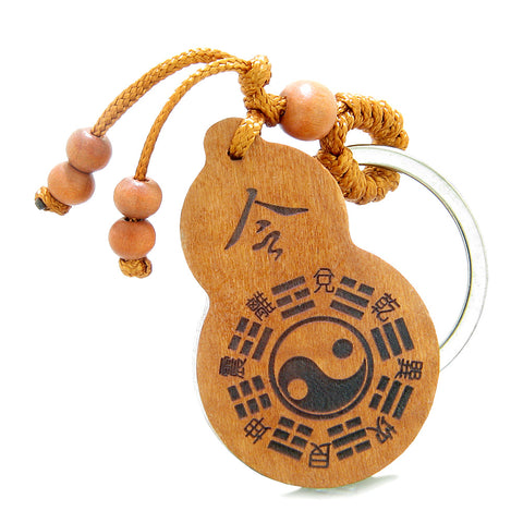 Amulet Yin Yang BaGua Eight Trigrams and Om Ohm Tibetan Lotus Powers Feng Shui Keychain Blessing