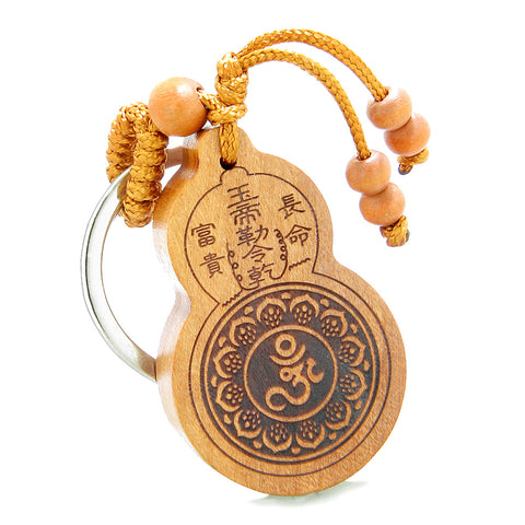 Amulet Om Ohm Tibetan Lotus Powers and Yin Yang BaGua Eight Trigrams Feng Shui Keychain Blessing