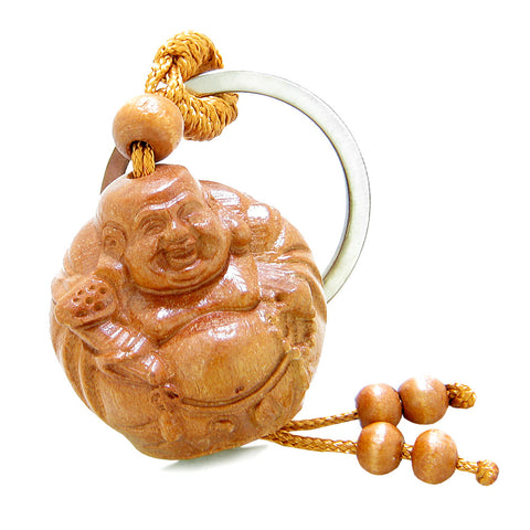 Amulet Happy Laughing Buddha Holding Holy Mala Charms Fortune Feng Shui Symbols Keychain Set Blessings