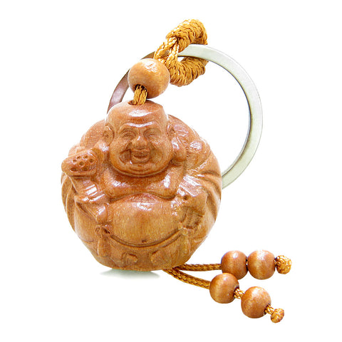 Amulet Happy Laughing Buddha Holding Holy Mala Charms Fortune Feng Shui Symbols Keychain Blessing