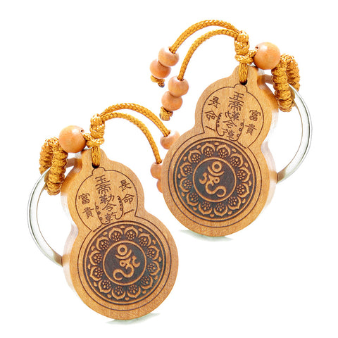 Amulet Om Ohm Tibetan Lotus Powers and Yin Yang BaGua Eight Trigrams Feng Shui Keychain Set Blessings