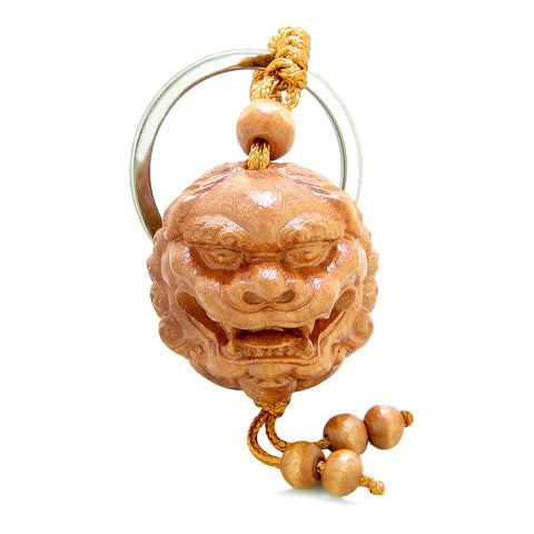 Amulet Fortune Courage and Brave Roaring Dragon Head Charms Feng Shui Symbols Keychain Blessing