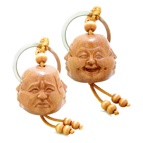 Amulet Four Seasons Happy Calm Sad and Wise Buddha Face Fortune Feng Shui Symbols Keychain Set Blessings
