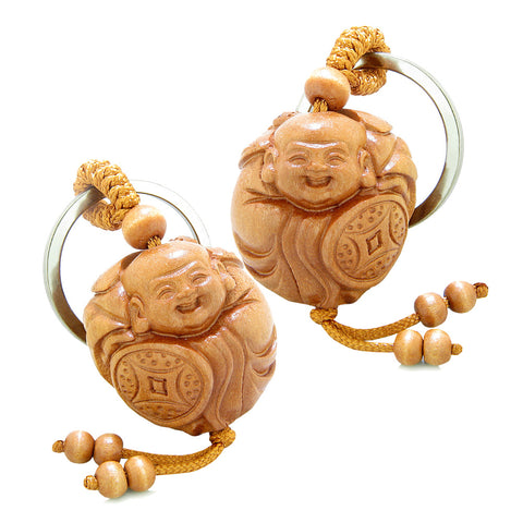 Amulet Laughing Baby Buddha Caring Bat Protection Lucky Coin Shield Feng Shui Keychain Set Blessings