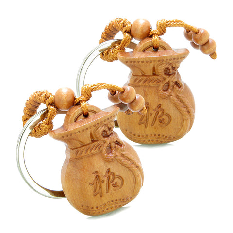 Amulet Fortune Money Bag Holding Lucky Coin Magic Wulu Charms Feng Shui Symbols Keychain Set Blessings