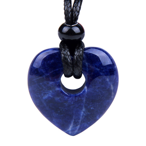 Amulet Lucky Heart Donut Shaped Charm Sodalite Gemstone Pendant Spiritual and Healing Powers Necklace