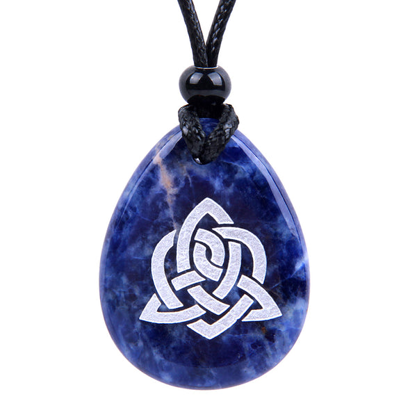 Triple Magic Energy Celtic Triquetra Shield Knot Spiritual Amulet Sodalite Wish Totem Stone Necklace