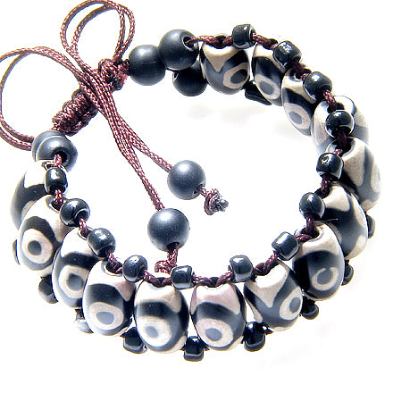 Tibetan Dzi Beads Natural Black Agate Gemstone Good Luck Amulet Adjustable Bracelet