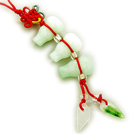 Money Talisman Natural Jade Triple Lucky Wulu Cell Phone Charm