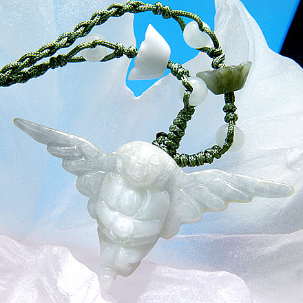Praying Angel Good Luck Talisman Unique Jade Necklace