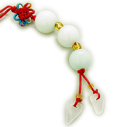 Good Luck Talisman Jade Triple Lucky Balls Cell Phone Charm