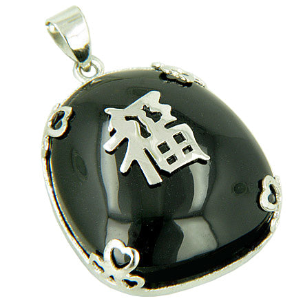 Amulet Good Luck, Wealth Black Jade 925 Silver Pendant
