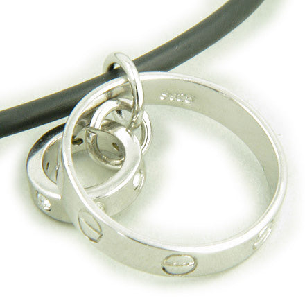 A Love Talisman Eternity 925 Silver Pendant on Rubber Necklace