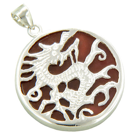 Amulet Dragon Burgundy Red Jade 925 Sterling Silver Pendant