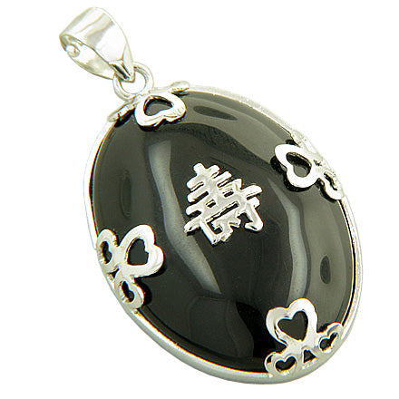 Amulet Good Luck And Wealth Black Jade 925 Silver Pendant