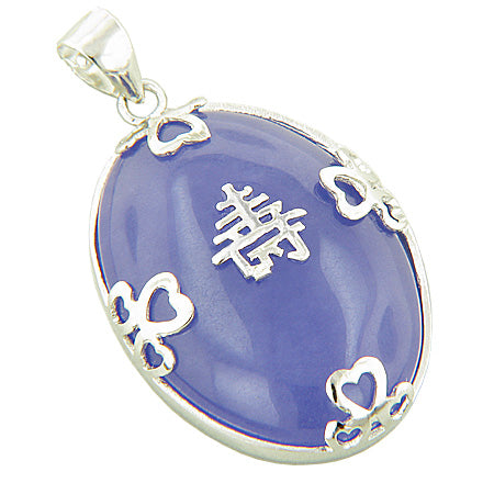 Amulet Good Luck And Wealth Purple Jade 925 Silver Pendant