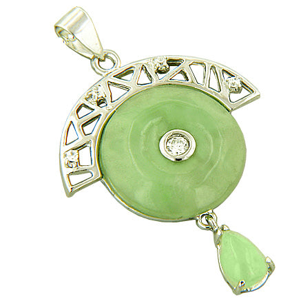 Amulet Lucky And Beautiful Donut 925 Silver Jade Pendant