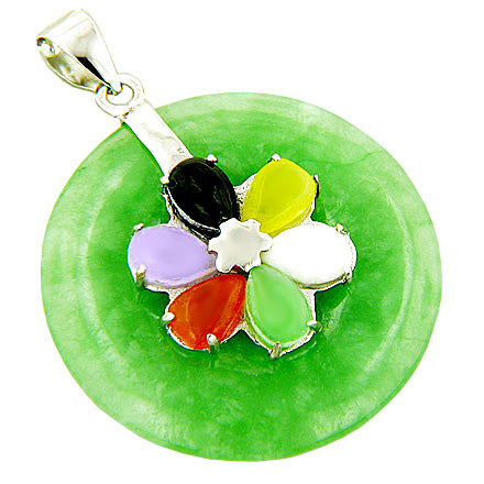 Amulet Good Luck Lucky Flower Green Jade 925 Silver Pendant