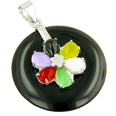 Amulet Good Luck Lucky Flower Black Jade 925 Silver Pendant