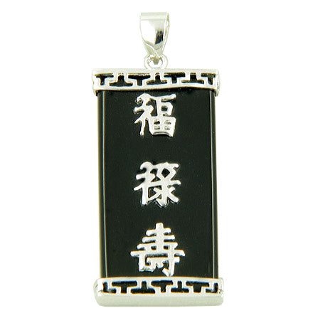 Amulet Good Luck, Magic and Protection Black Onyx Silver Pendant