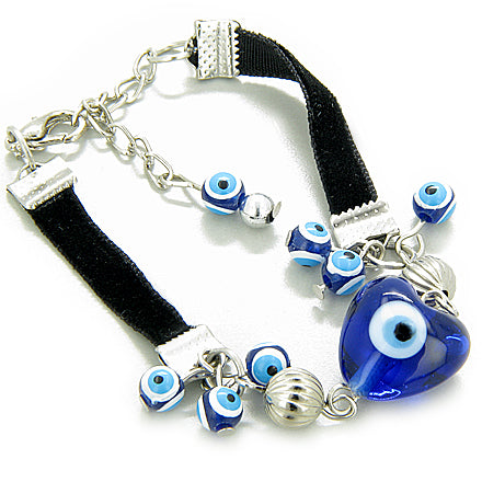 Evil Eye Protection Heart Glass Bead Bracelet