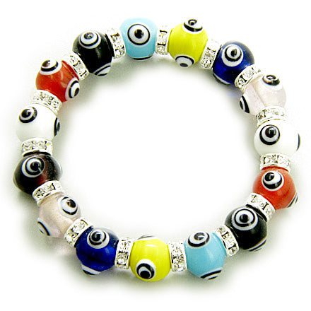 Swarovski Crystals Happy Multicolor Evil Eye Protection Bracelet