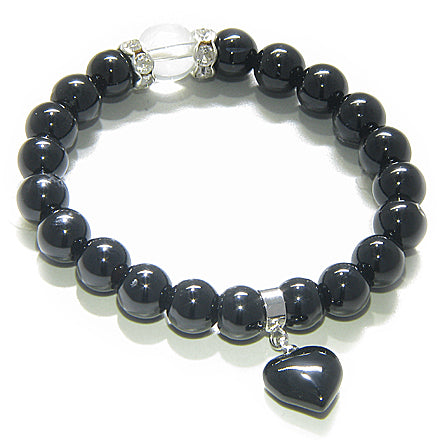 Swarovski And Black Onyx Heart Spiritual Protection Bracelet
