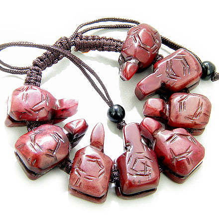 Good Luck Talisman Turtles Burgundy Jade Bracelet