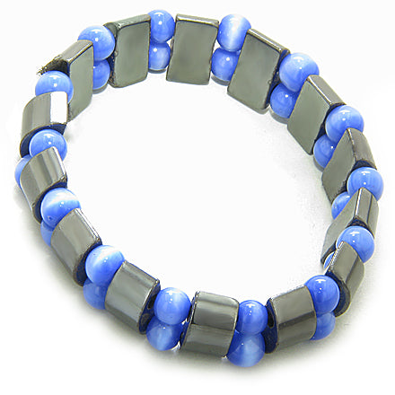 Lucky And Protection Hematite And Blue Cats Eye Bracelet