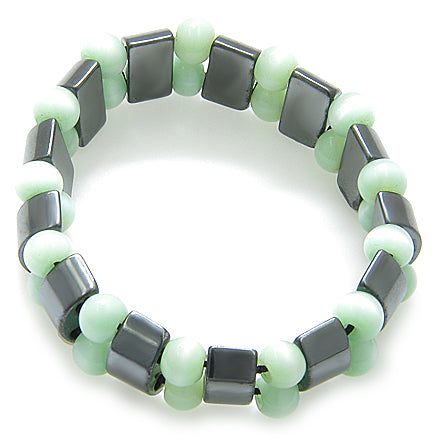 Lucky And Protection Hematite And Light Green Cats Eye Bracelet