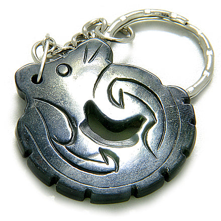 Good Luck And Protection Talisman Dragon Black Jade Keychain