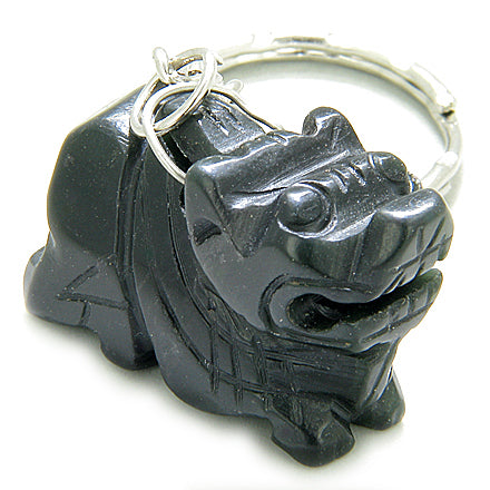 Good Luck & Protection Talisman Dragon Black Jade Keychain