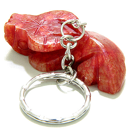 Good Luck Talisman Ox Red Jade Keychain