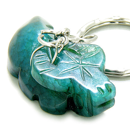 Good Luck Talisman Ox Green Jade Keychain