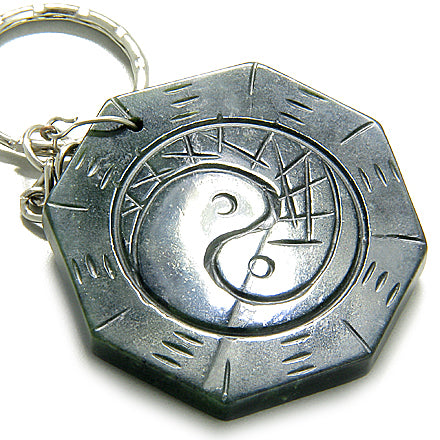 Good Luck Talisman Lucky Yin-Yang Black Jade Keychain