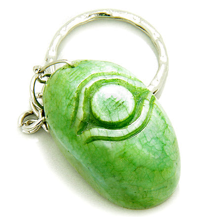 Good Luck And Protection Talisman Eye Green Jade Keychain